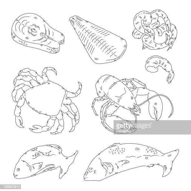 sea food - fillet stock illustrations, clip art, cartoons, & icons