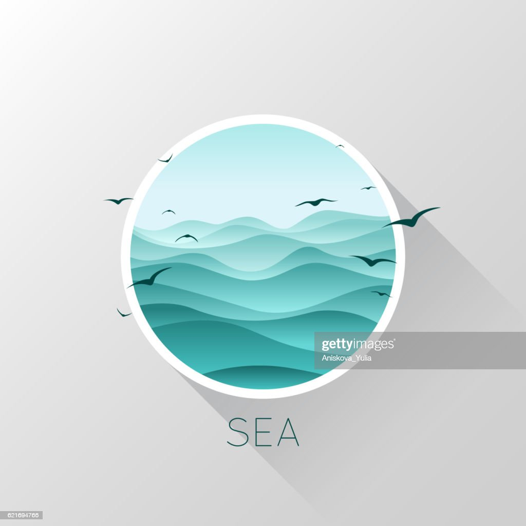 Sea icon. Waves and seagulls. Vector illustration.