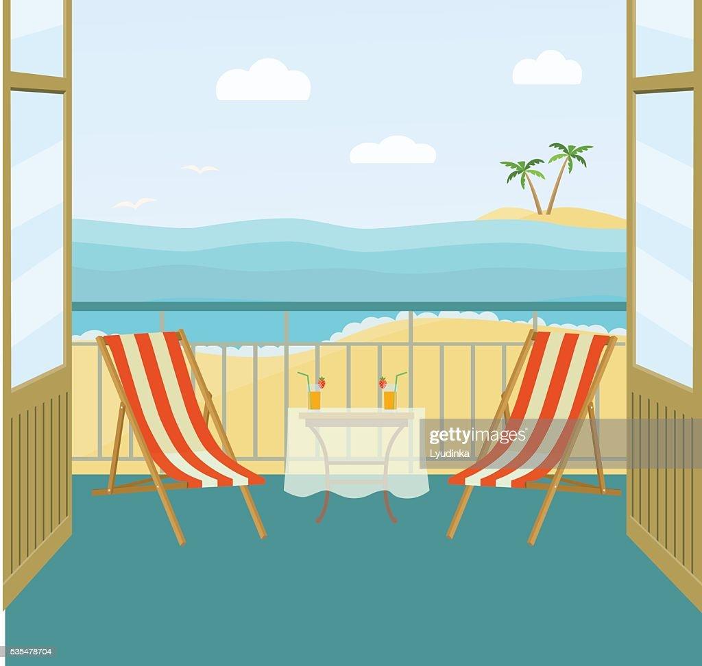 Sea landscape summer beach. balcony. Vector flat illustration
