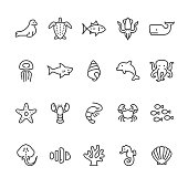 Sea Life and Ocean animals vector icons