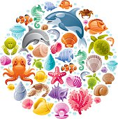 Sea life colorful icons