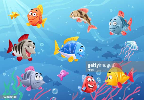 sea life- happy fish - fish stock illustrations