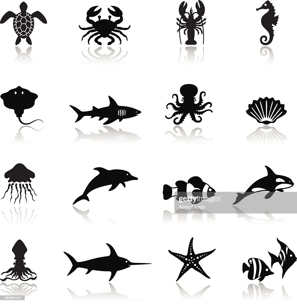 Sea Life Icon Set : stock illustration