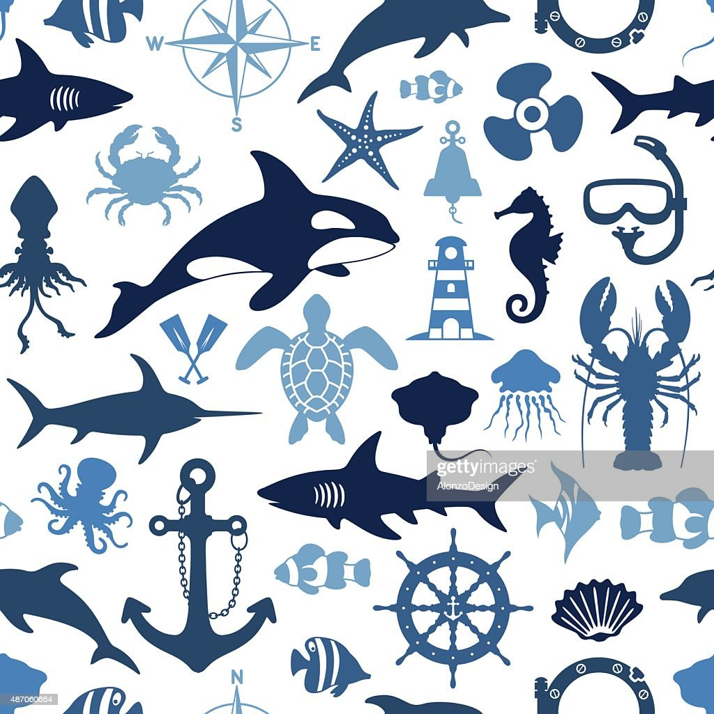 Sea Life Pattern : stock illustration