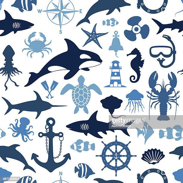 sea life pattern - killer whale stock illustrations, clip art, cartoons, & icons