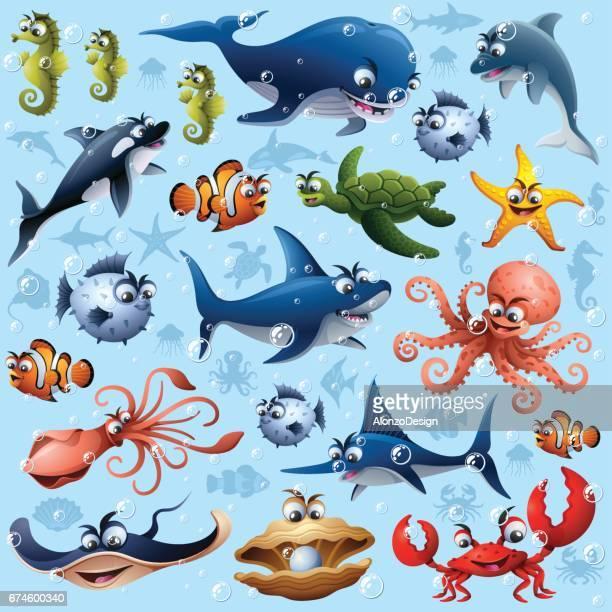 ilustraciones, imágenes clip art, dibujos animados e iconos de stock de patrón sin costuras de vida marina - vida marítima