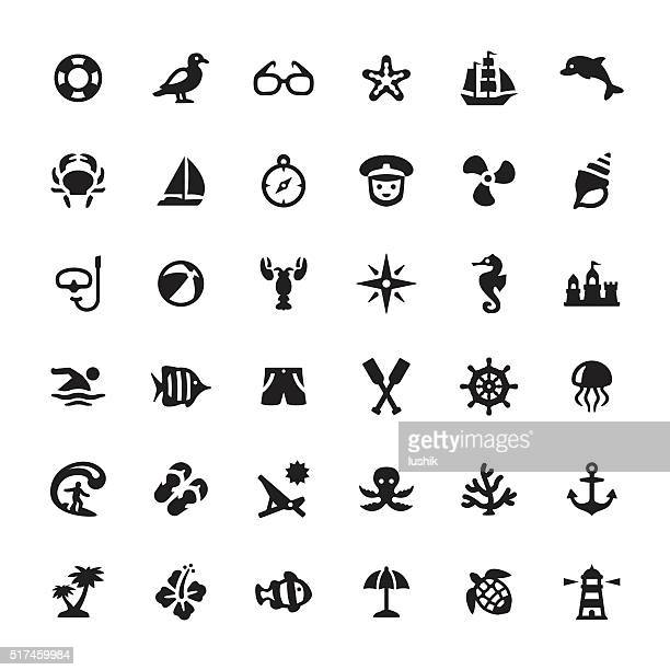 sea life vector symbols and icons - marines stock illustrations