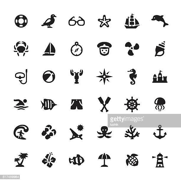 ilustraciones, imágenes clip art, dibujos animados e iconos de stock de mar vida de vectores iconos y símbolos - concha de mar