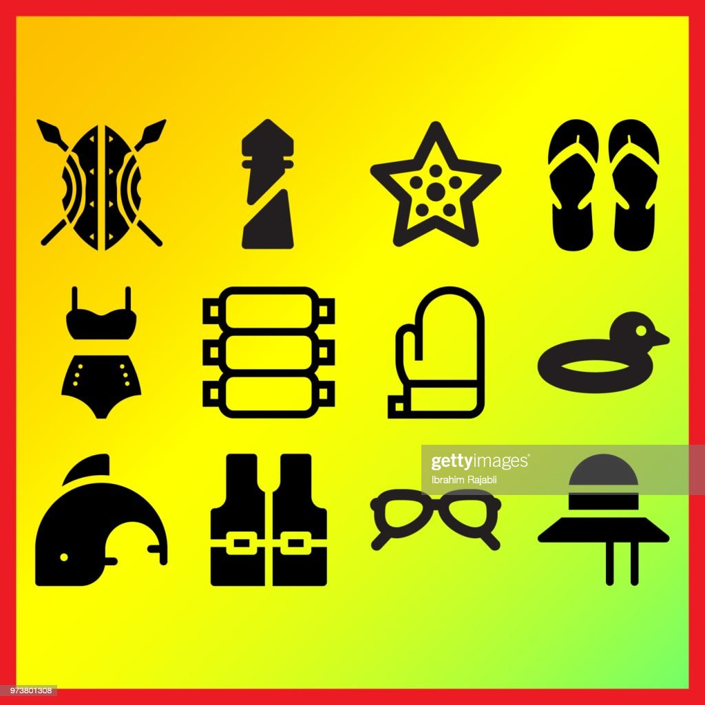Sea lighthouse, vintage bikini and duck float related icons set