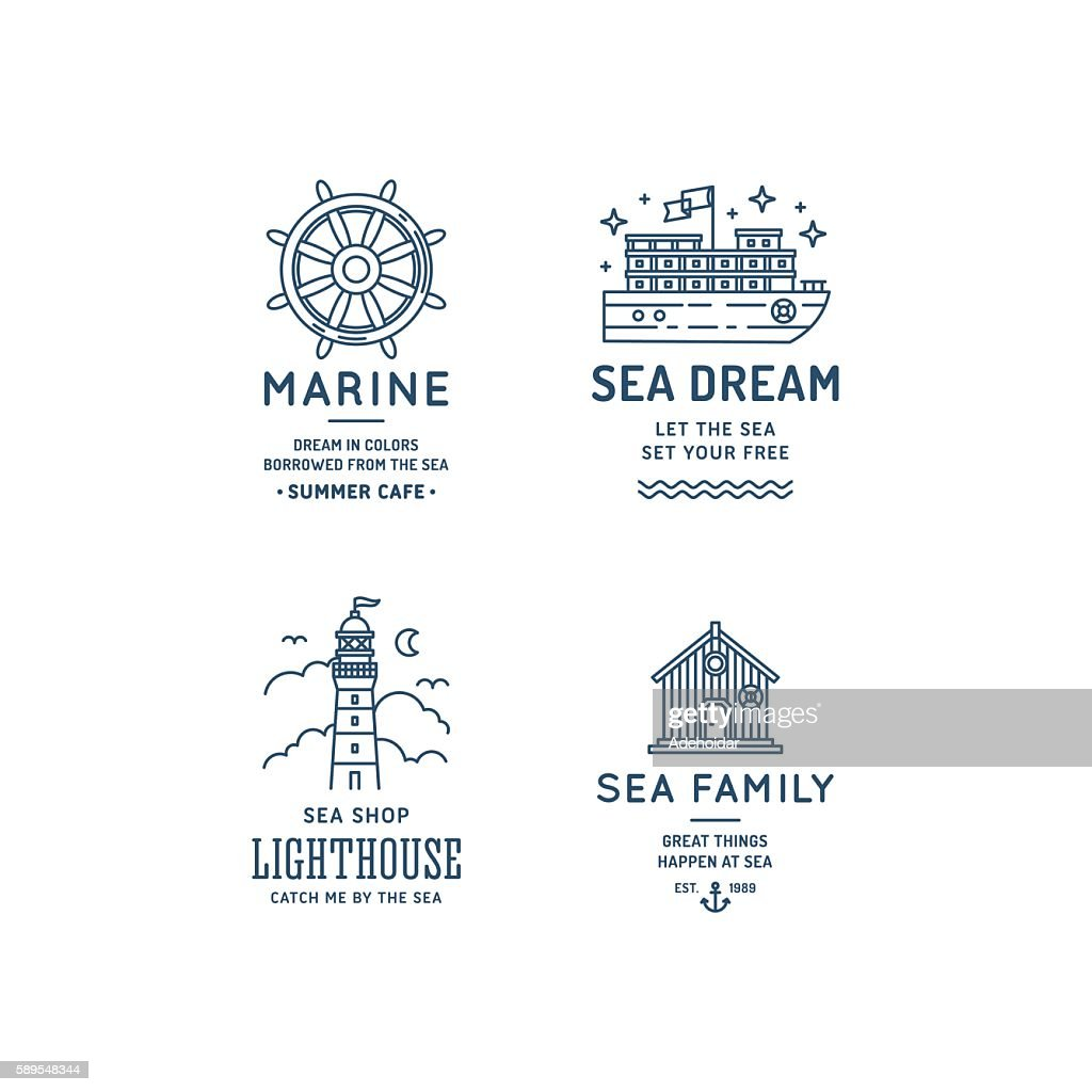 Sea logo collection. Nautical logo set. Lineart simple graphic design.