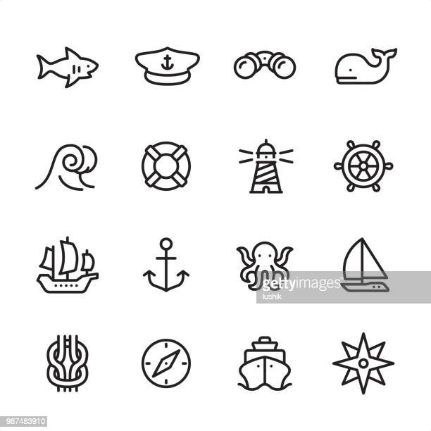 Sea & Marine - outline icon set
