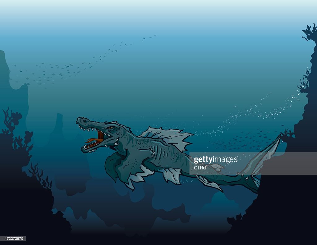 Sea Monster Swimming in Deep, Dark Water