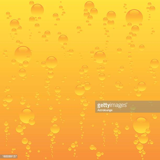a sea of bubbles rising on an orange gradient background - fruit juice stock illustrations, clip art, cartoons, & icons