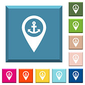 Sea port GPS map location white icons on edged square buttons