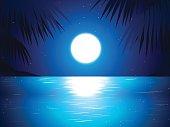 sea reflect moon at night