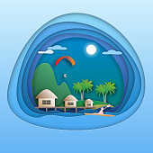 Sea resort with bungalows, island with palm trees, mountain, paraglide, kayak rower. Tourist card illustration in paper cut style.