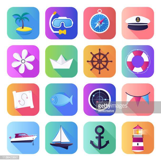 Sea Routes & Yacht Sailing Flat Smooth Gradient Style Vector Icons Set