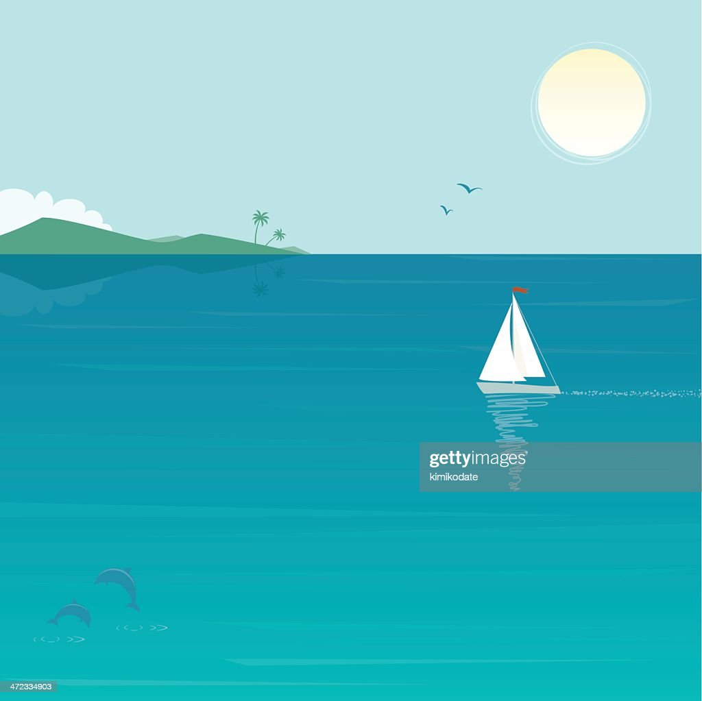 Sea scenery with yacht and dolphins : stock illustration