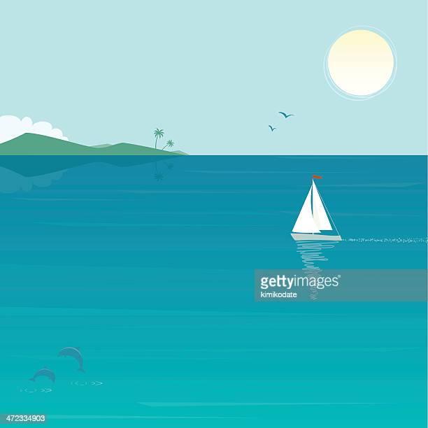 stockillustraties, clipart, cartoons en iconen met sea scenery with yacht and dolphins - horizon