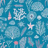 Sea seamless pattern with seashells, corals, alga and starfishes. Marine background.
