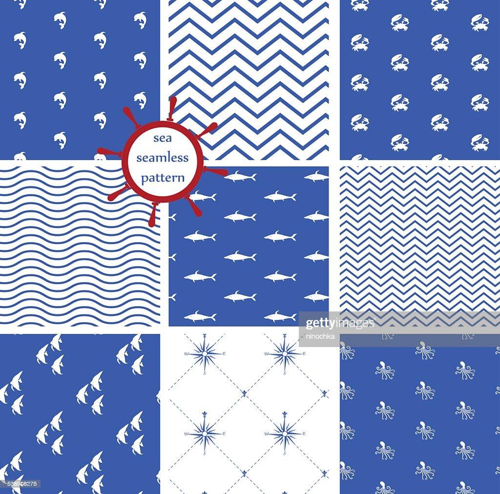 sea seamless patterns : stock illustration