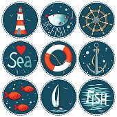 Sea set of 9 nautical elements in a circle shape