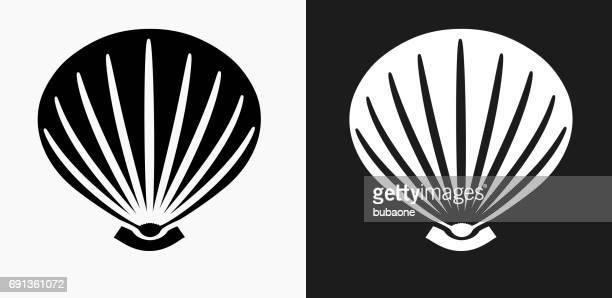 ilustraciones, imágenes clip art, dibujos animados e iconos de stock de icono de concha de mar en blanco y negro vector fondos - concha de mar
