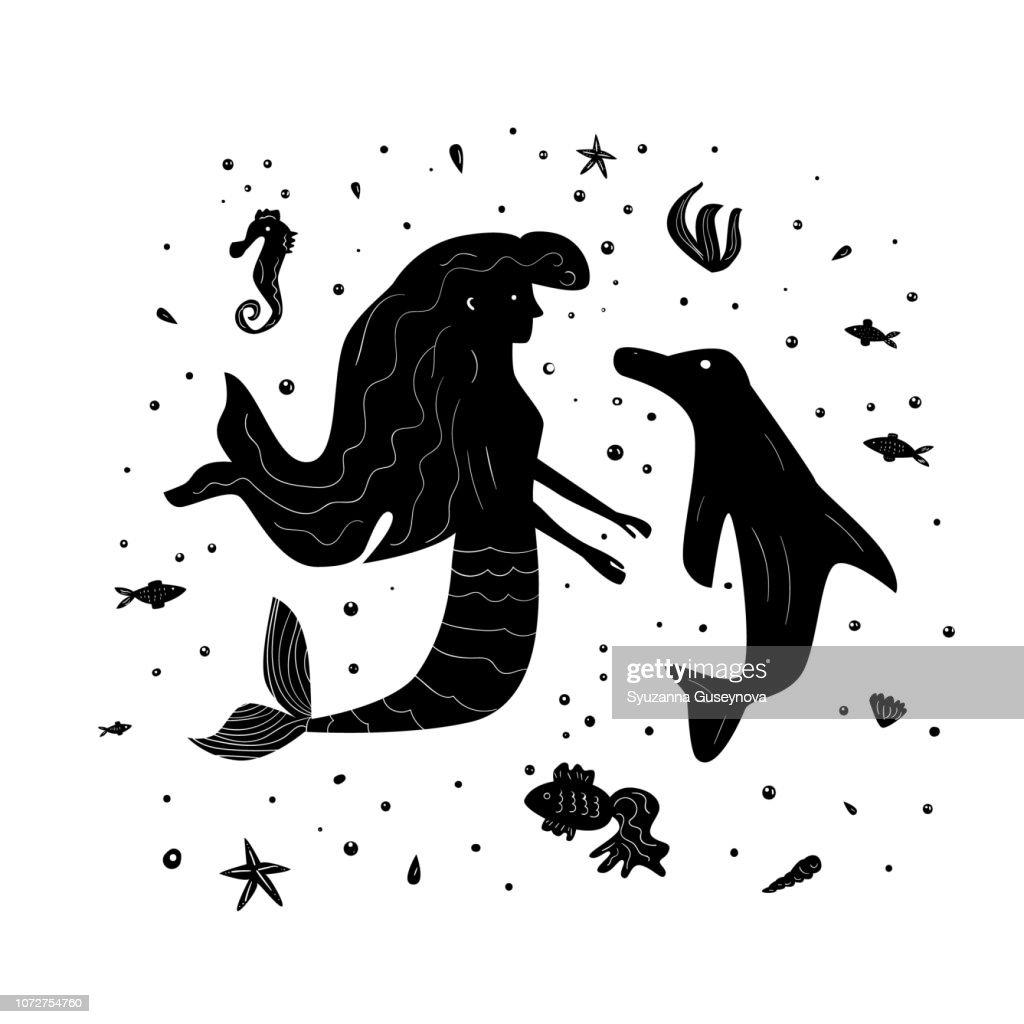 Sea silhouette composition. Vector illustration.