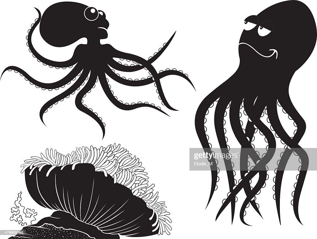 Sea silhouettes/Silhouettes de la mer : stock illustration