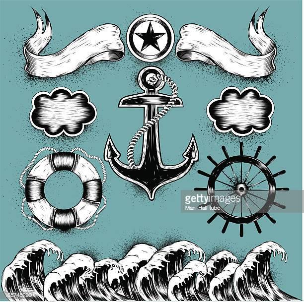 illustrations, cliparts, dessins animés et icônes de tatouages la mer - ancre