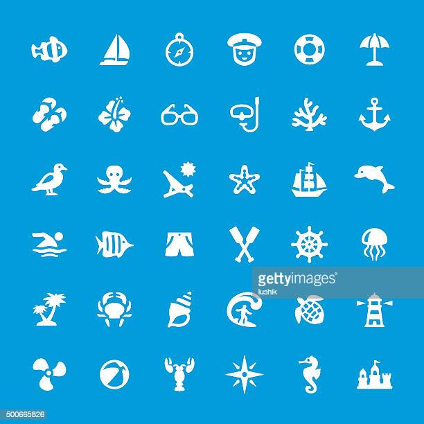 Sea theme and beaches vector icons set