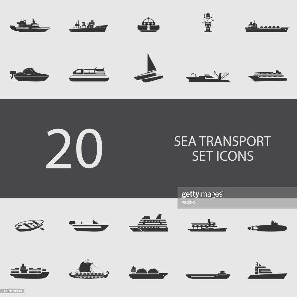 Sea transport set of flat icons. Vector illustration