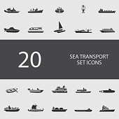 Sea transport set of flat icons. Vector illustration