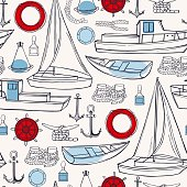 Sea transport, yachts and ships. Vector   pattern.