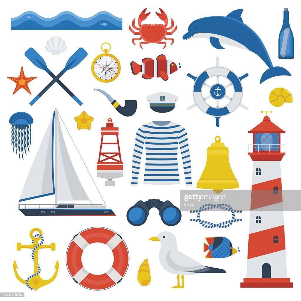 Sea Travel Marine Icons and Elements