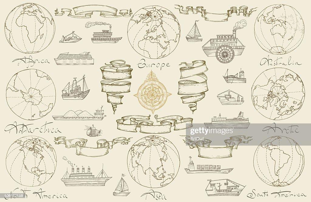 Sea travel with retro ships.