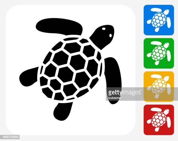 sea turtle icon flat graphic design - sea turtle stock illustrations