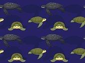 Sea Turtle Leatherback Cartoon Seamless Wallpaper