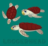 Sea Turtle Loggerhead Cartoon Vector Illustration