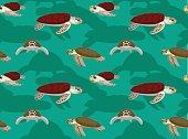 Sea Turtle Loggerhead Green Cartoon Seamless Wallpaper