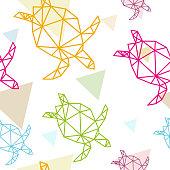 Sea turtle seamless pattern backgrounds, vector illustration