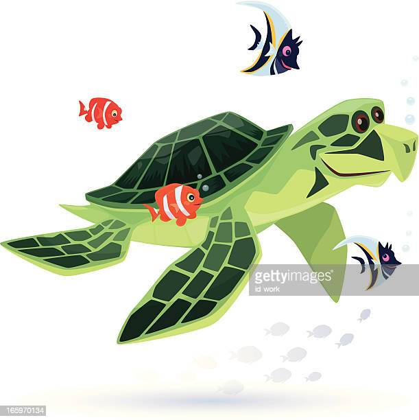 sea turtle with tropical fishes - butterflyfish stock illustrations, clip art, cartoons, & icons