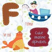Sea very cute  Alphabet.marine set in vector.F letter.Fishman, f