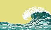 Sea wave, realistic vector illustration.