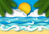 Sea waves and tropical beach in paper art style. Travel concept vector illustration. Summer vacation poster in paper cut design