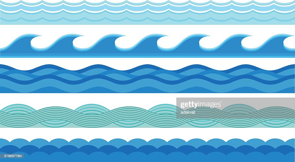 Sea waves pattern set horizontally ocean abstract element nature flat