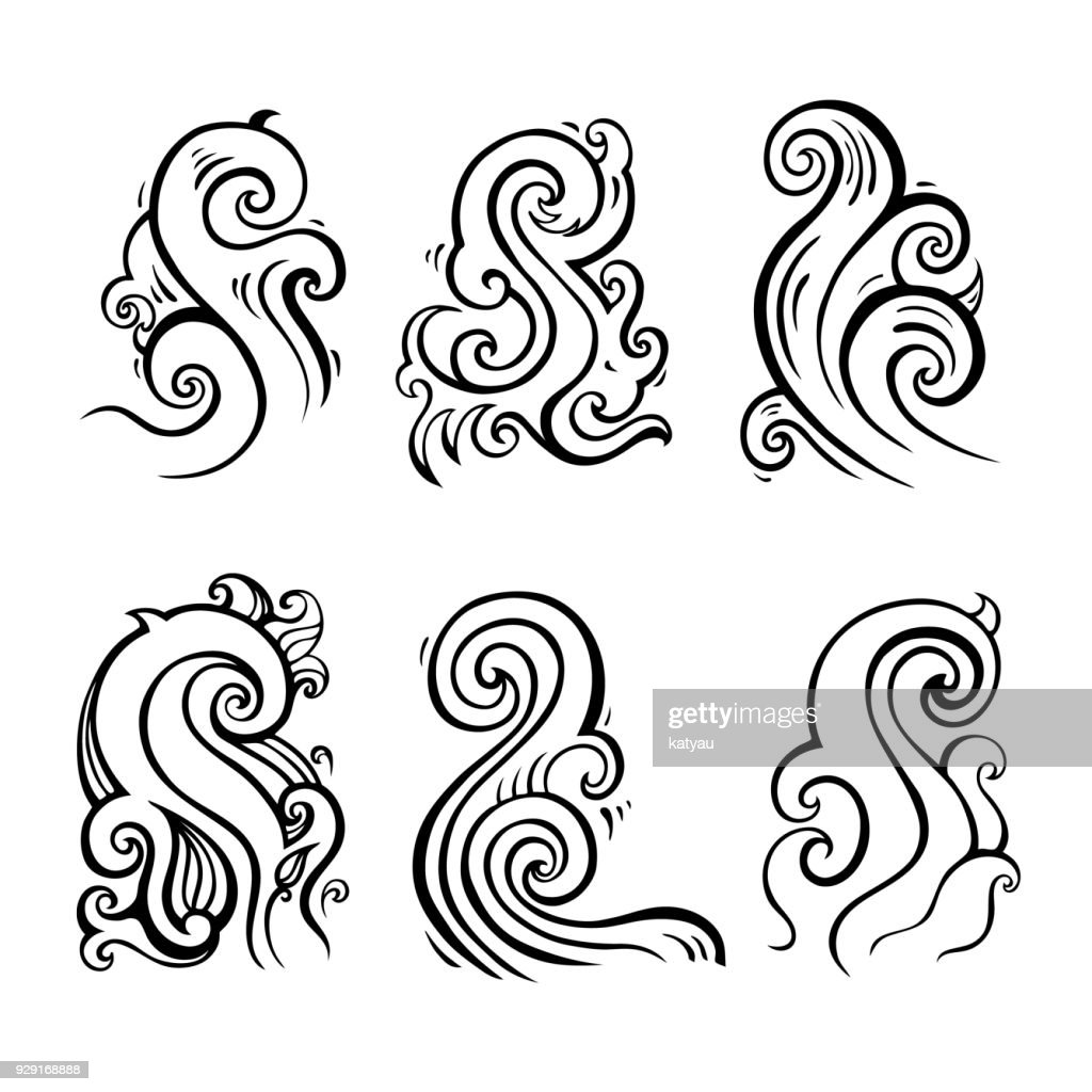 Sea waves set, Hand drawn Design element