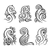 Sea waves set, Hand drawn Design element
