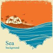 Sea waves.Seascape horizon illustration on old vintage poster