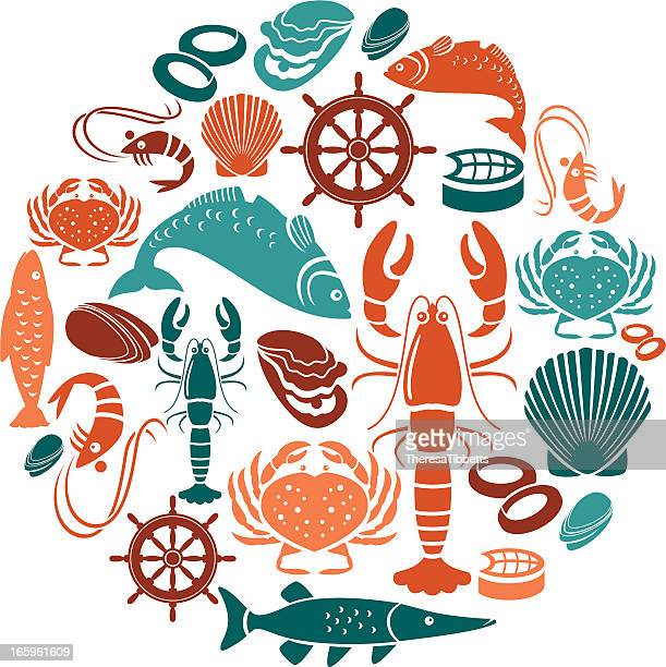 seafood and fish icon set - seafood stock illustrations